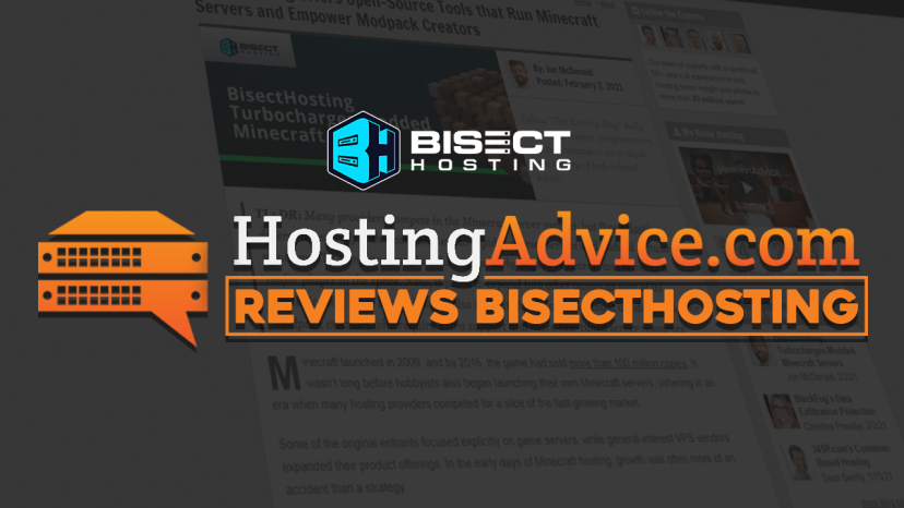 BisectHosting Evaluated on HostingAdvice.com